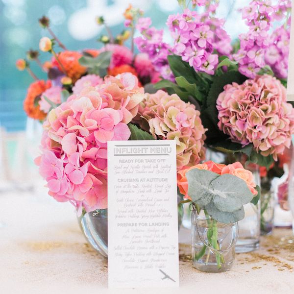 pink wedding table flowers