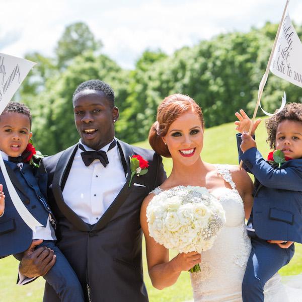 stylish footballer wedding