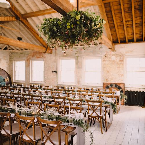 london loft wedding, greenery wedding, loft wedding, grey and green wedding
